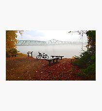 Foggy Morning at Missouri River Wabash Railroad Bridge Katy Bike Trail Photographic Print