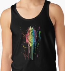 Watercolour and Pen Rainbow Anatomical Heart Men's Tank Top