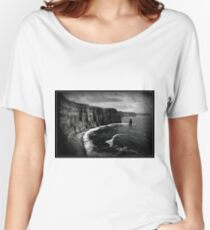 Ireland, Cliffs of Moher, County Clare. B&W treatment. Women's Relaxed Fit T-Shirt