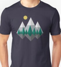 Sunrise Over Mountains and Forest, Flat Nature Landscape T-Shirt