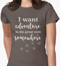 I Want Adventure In the Great Wide Somewhere :: Disney Beauty and the Beast Quote Womens Fitted T-Shirt