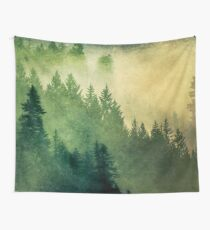 Fog Forest Trees - Nature Hike - mountain misty tree  Wall Tapestry
