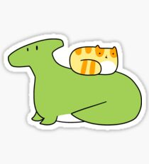 Hadrosaurid and Orange Tabby Cat Sticker