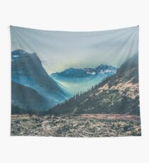 Mountains and Forest: Blue Ice Glacier National Park Wall Tapestry