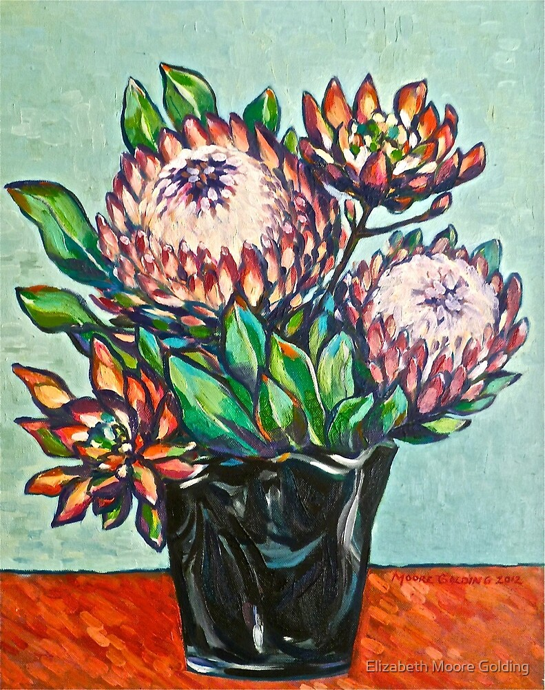 Proteas. Oil on linen 56x44cm  2012 by Elizabeth Moore Golding