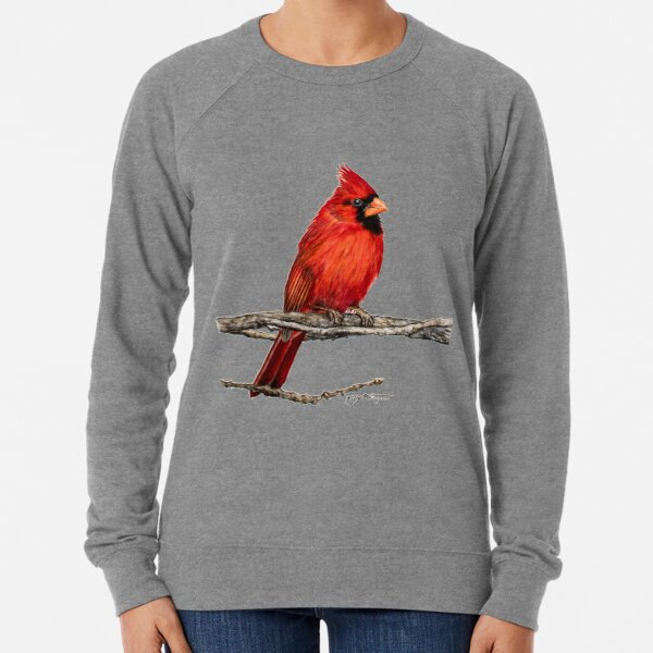 Male Northern Cardinal Wildlife Bird Art Lightweight Sweatshirt