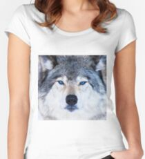 Blue Eyed Wolf  Women's Fitted Scoop T-Shirt