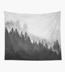 Fog Forest - Black and White Mountain Trees Wall Tapestry