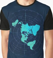 Flat Earth Map - Azimuthal Equidistant Projection  Graphic T-Shirt