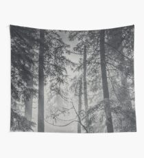 Nature Forest - Black and White Trees in Winter Wall Tapestry