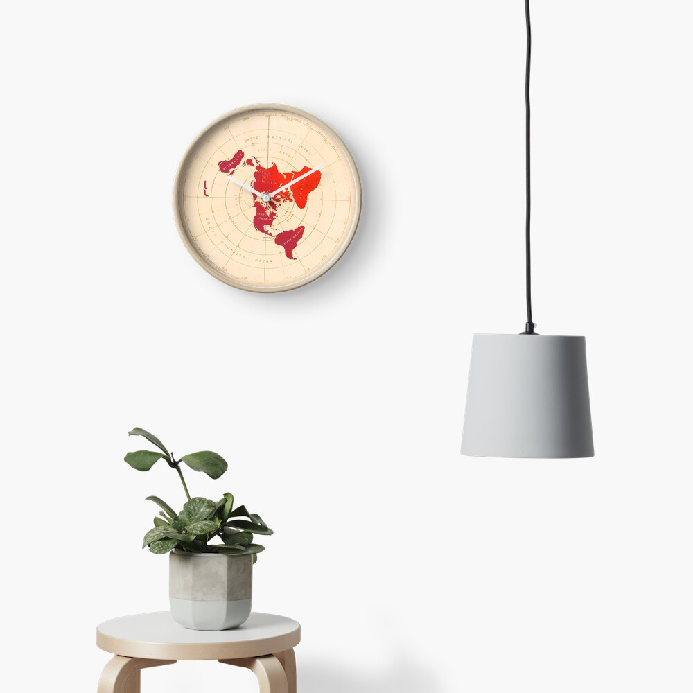 Flat Earth Map - Azimuthal Equidistant Projection (Red Design) Clock