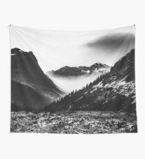Mountains and Forest - Black and White Glacier National Park Wall Tapestry