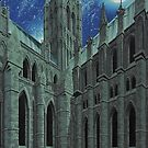 The Cathedral Church of the Blessed Virgin Mary of Lincoln with Moon and Stars by ChrisWilsonArt
