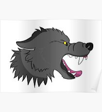 Snarly Side View Wolf Poster
