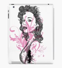 Brunette with piercing eyes and flowers iPad Case/Skin
