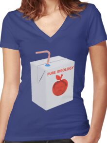 ZIZEK FRUIT JUICE PURE IDEOLOGY PCM MEMES Women's Fitted V-Neck T-Shirt