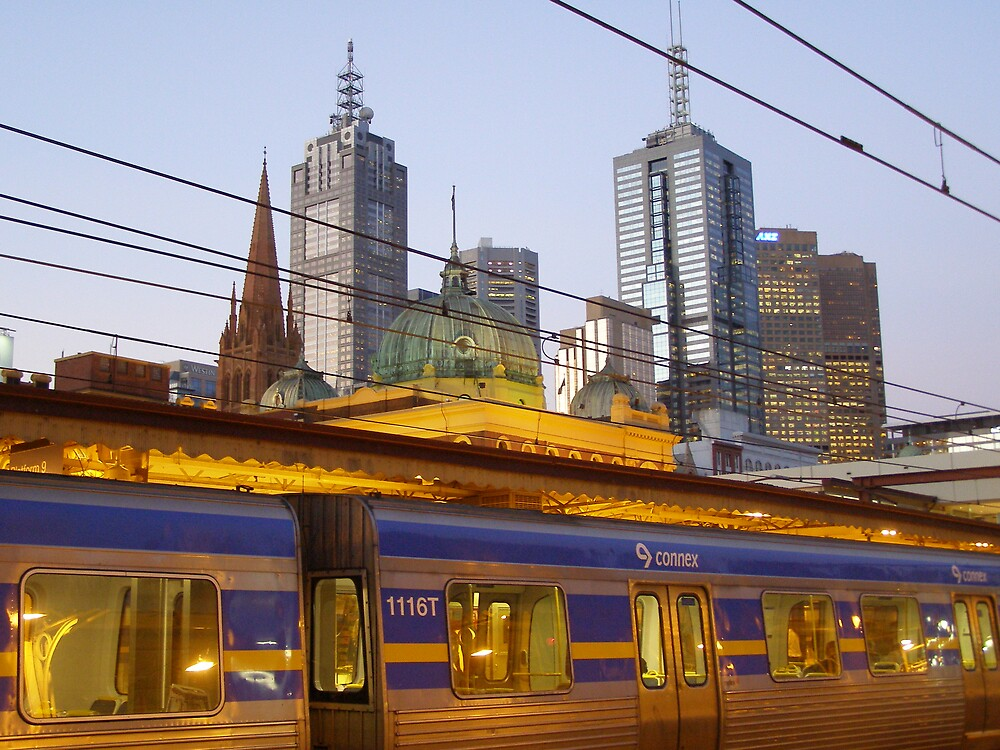 Melbourne Train at Dusk by lmcp 27