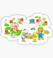 """Picnic With Strawberry & Friends"" Vintage, Card, Inspired, Retro, Strawberry, Shortcake, SSC, Apple Dumplin, Huckleberry Pie, Raspberry Tart, Blueberry Muffin, Custard, Pupcake, Strawberries    Sticker"