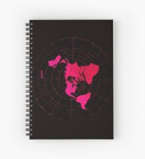 Flat Earth Map - Azimuthal Equidistant Projection Hot Pink Naval Style Design) Spiral Notebook
