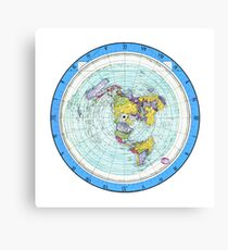Flat Earth Map - (Azimuthal Equidistant Projection Map) - Blue Canvas Print