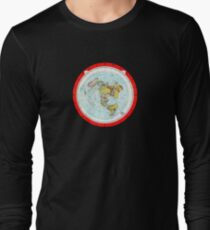 Flat Earth Map - (Azimuthal Equidistant Projection Map) - Red Long Sleeve T-Shirt
