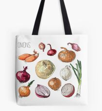 illustration of retro organic Onions set Tote Bag