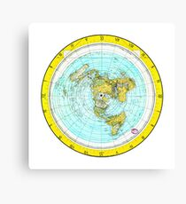 Flat Earth Map - (Azimuthal Equidistant Projection Map) - Gold Canvas Print