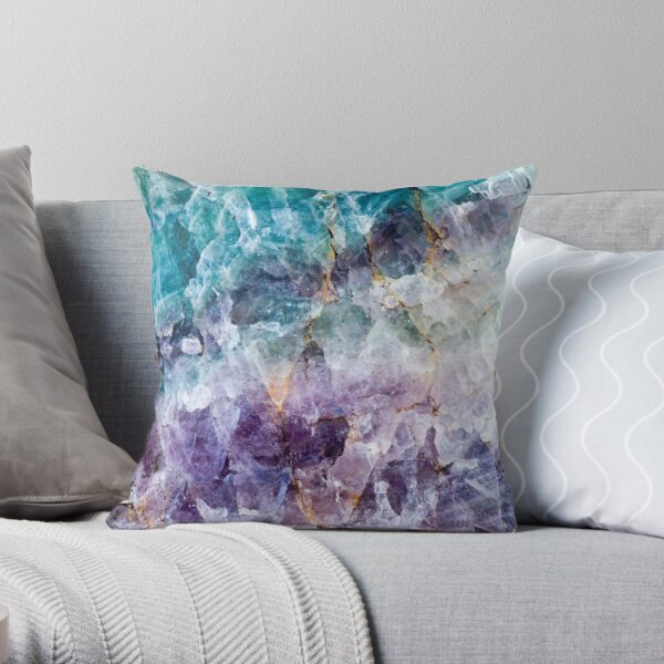 Cristal de quartz turquoise et violet Coussin