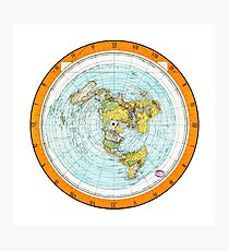 Flat Earth Map - (Azimuthal Equidistant Projection Map) - Beautiful Photographic Print