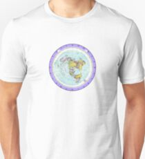 Flat Earth Map - (Azimuthal Equidistant Projection Map) - Purple Unisex T-Shirt
