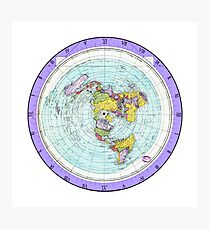 Flat Earth Map - (Azimuthal Equidistant Projection Map) - Purple Photographic Print