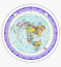 Flat Earth Map - (Azimuthal Equidistant Projection Map) - Purple Sticker