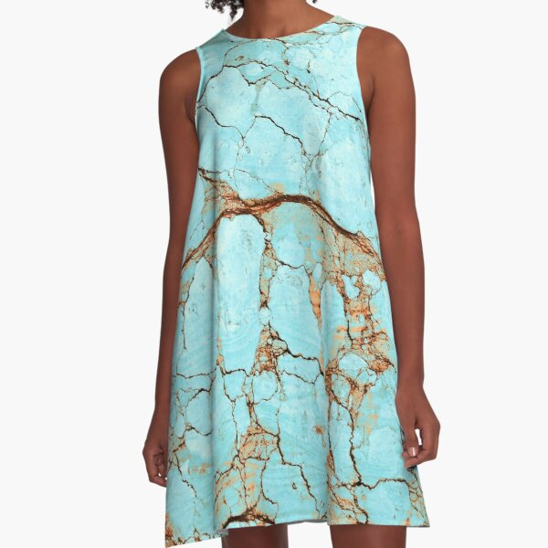 Rusty Cracked Turquoise A-Line Dress