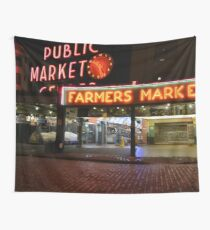 Pike Place Market - Seattle, Washington, USA Travel Night Wall Tapestry