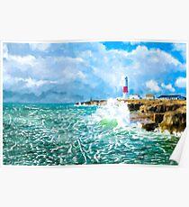 Portland Bill Lightouse - Dorset Coast - British Landscape Art Poster