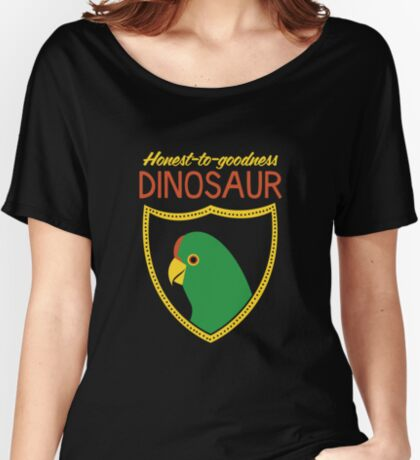 Honest-To-Goodness Dinosaur: Parakeet (on dark background) Women's Relaxed Fit T-Shirt