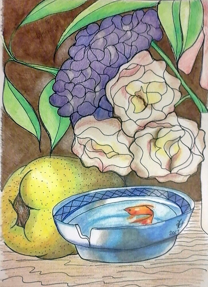 Still life with fish by Loretta Nash