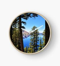 Forest Crater Lake Oregon PNW Travel Blue Lake Cascadia Trees - Digital Wall Art Tapestries Clock