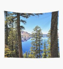 Forest Crater Lake Oregon PNW Travel Blue Lake Cascadia Trees - Digital Wall Art Tapestries Wall Tapestry