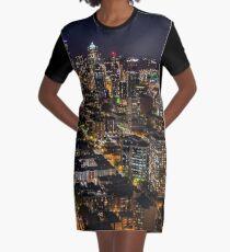 Seattle Skyline from the Space Needle - Travel - Washington - Night Graphic T-Shirt Dress