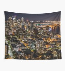 Seattle Skyline from the Space Needle - Travel - Washington - Night Wall Tapestry