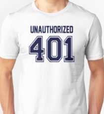 Error 401 - Unauthorized - Navy Letters Unisex T-Shirt
