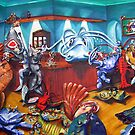 """A FEW FISHY """"TALES"""" AT THE SAND BAR """"oil on canvas"""" by Shauna  Noble"""