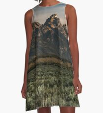 Travel Mountain Nature Trees Tapestry - Grand Tetons - Jackson Hole Wyoming A-Line Dress