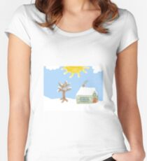 Naive Winter Scene Women's Fitted Scoop T-Shirt