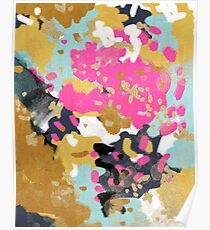 Laurel - Abstract painting with gold, navy, turquoise, pink, and blush Poster
