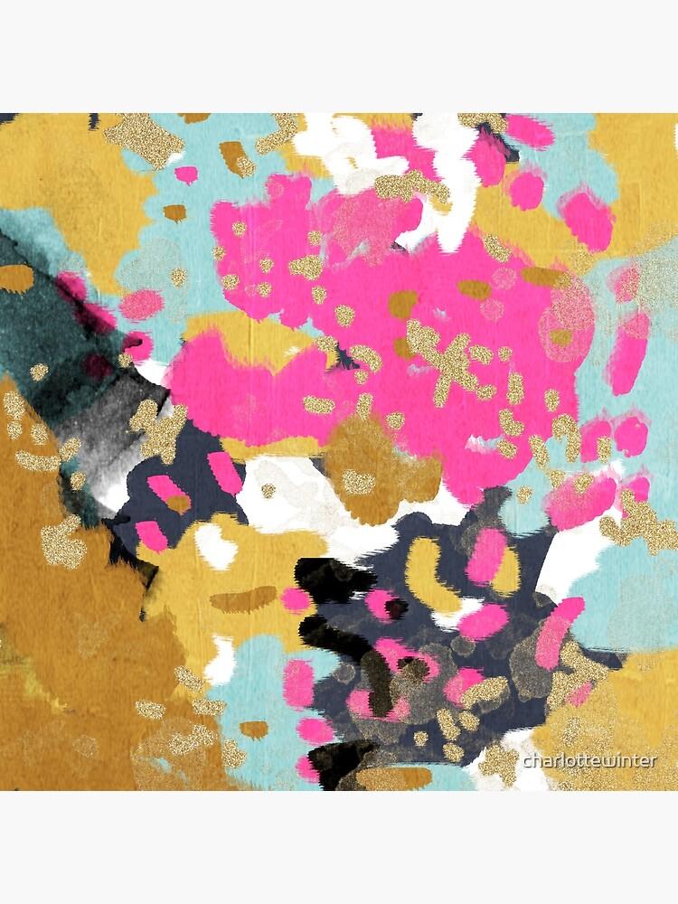 Lorbeer - Abstrakte Malerei mit Gold, Marine, Türkis, Rosa und erröten von charlottewinter