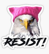 Resist - Bald Eagle Wearing Pink Knitted Pussy Hat Sticker