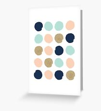 Wren - Brush strokes in modern colors turquoise, mint, navy, blush  Greeting Card