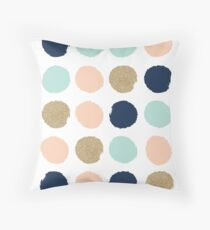 Wren - Brush strokes in modern colors turquoise, mint, navy, blush  Throw Pillow